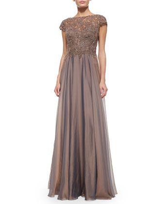 La Femme Cap Sleeve Dress  Cap-Sleeve+Lace-Bodice+Flowy+Gown+by+La+Femme+at+Neiman+Marcus.