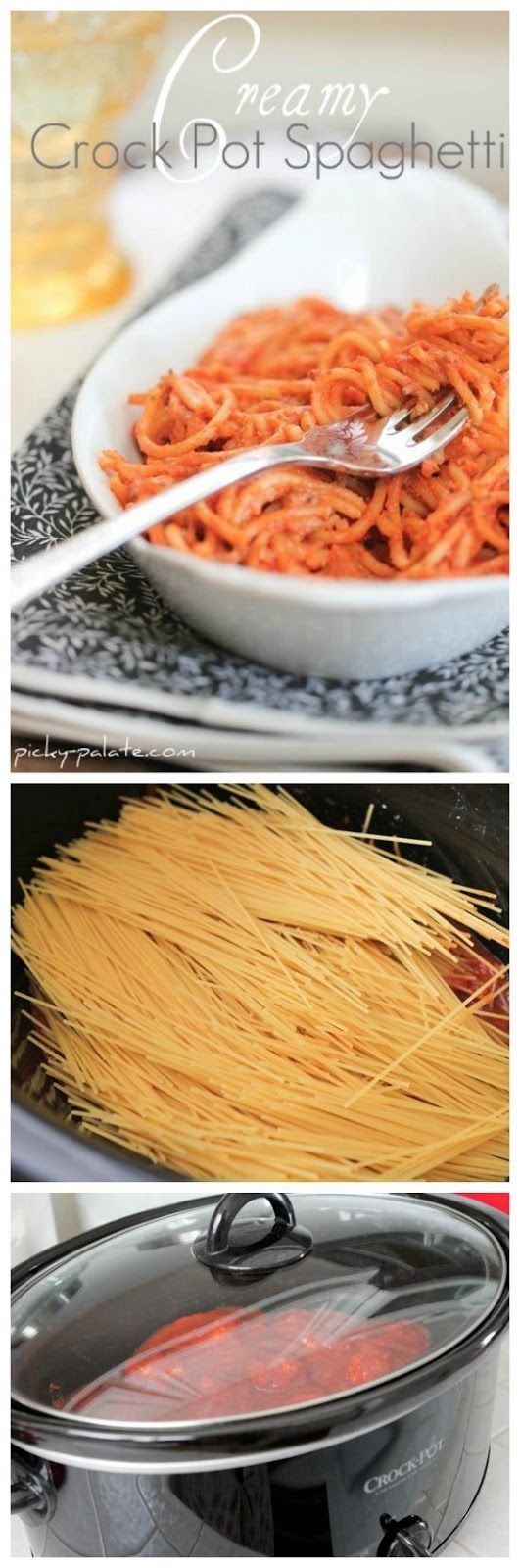 Creamy Crock Pot Spaghetti from Picky Palate sounds like a great idea ...