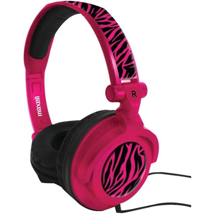 Maxell AMPlified Heavy Bass Adjustable Stereo Headphones 40mm Microphone Pink #Maxell #OvertheHeadPaddedStereoHeadphones