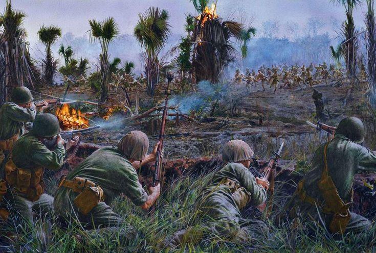 Springfield M1903 - Американские морские пехотинцы отражают атаку войск японской армии в ходе битвы за Гуадалканал (Соломоновы острова), сентябрь 1942 года