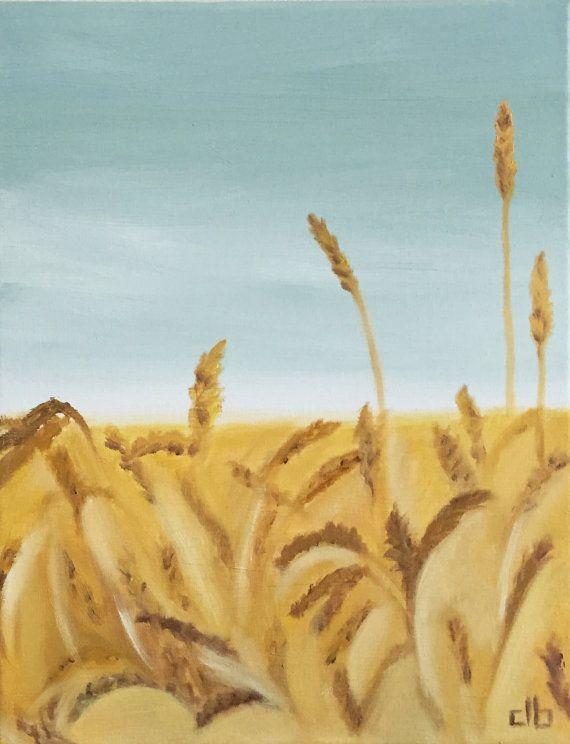 Wheat Field Painting 11 x 14 Original Oil by CFineArtStudio