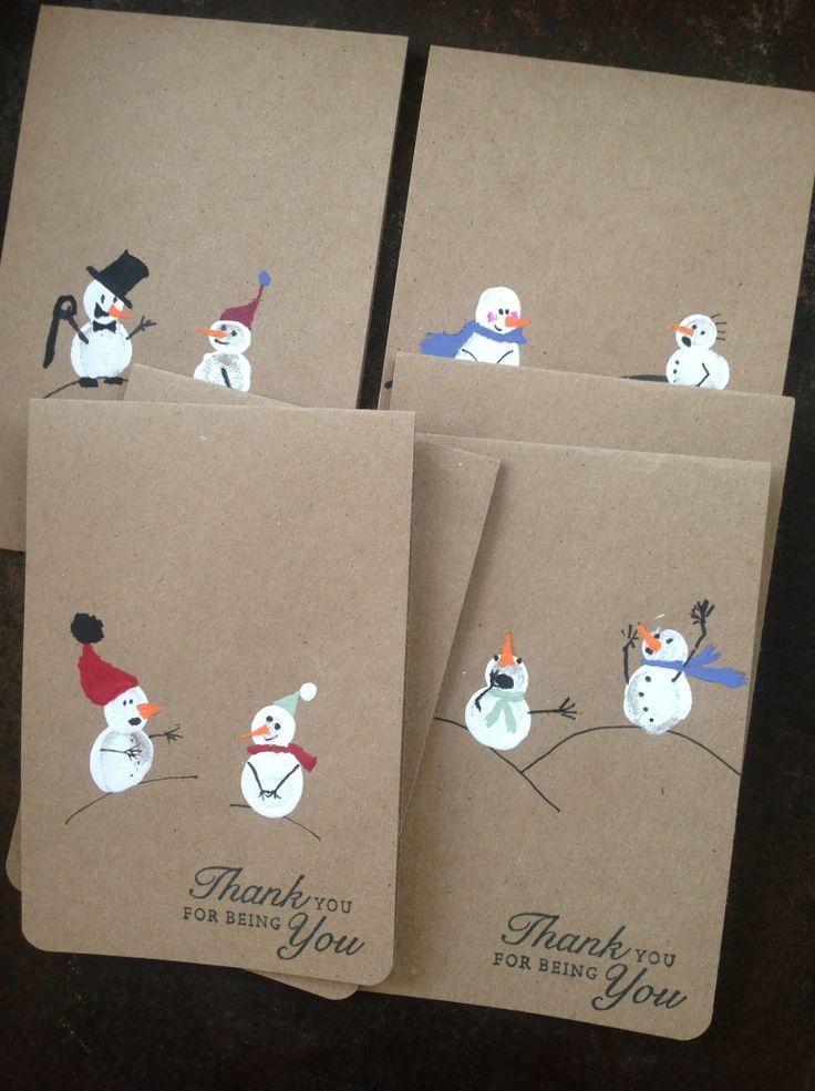 Fingerprint snowman card