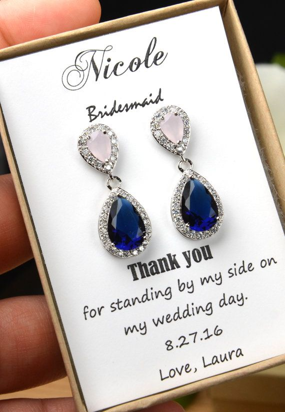 Blush pink navy blue ROSE GOLD Wedding Jewelry Bridesmaid Gift Bridesmaid Jewelry Bridal Jewelry earring Drop dangle Earring,bridesmaid gift  THESE EARRINGS CAN BE MADE WITH ANY COLOR COMBO . YOU CHOOSE DIFFERENT COLOR OR SAME COLOR . MESSAGE ME AT CHECK OUT FOR THE TOP COLOR & BOTTOM COLOR YOU WANT   ►►► Materials: - Cubic Zirconia , with facets equivalent to a diamond   -Top color : Blush pink and bottom color navy blue and rose gold Finish AS SHOW  - available in 18k white gold or ye