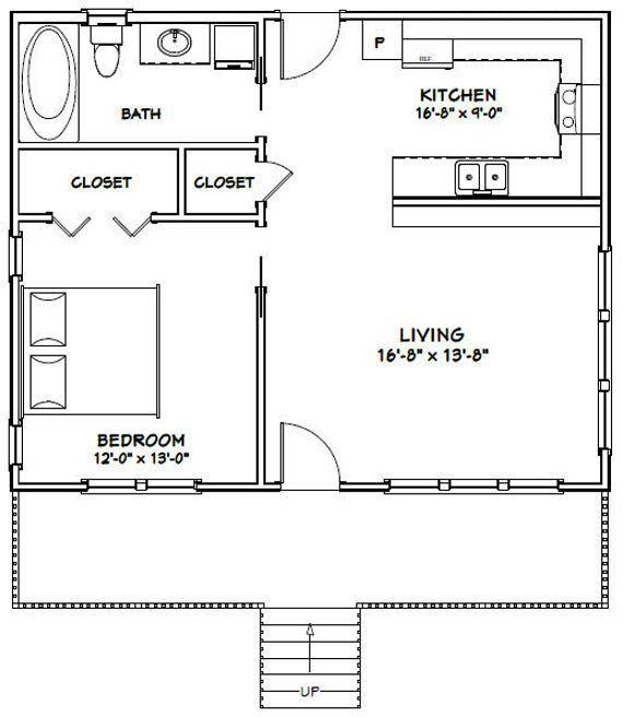 30x24 House 1 Bedroom 1 Bath 720 Sq Ft Pdf Floor Plan Etsy In 2020 Guest House Plans Small House Floor Plans Floor Plans
