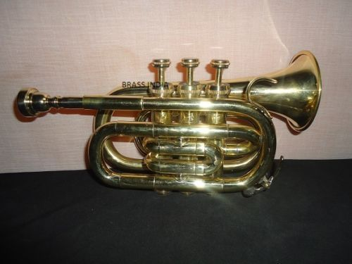 POCKET TRUMPET FOR SALE BRASS CORNET Bb NICE PITCH PROFFESIONAL W/HARD CASE #Musical