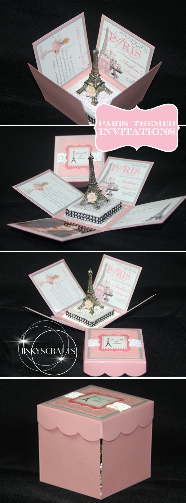 Unique Paris Themed Invitation for Paris Themed Sweet 16, Paris Themed Wedding, Paris Themed Bridal Shower, Paris Themed Quinceanera or any Night In Paris events. This is an exploding box pop up invitation with Eiffel Tower centerpiece. Completely customizable.