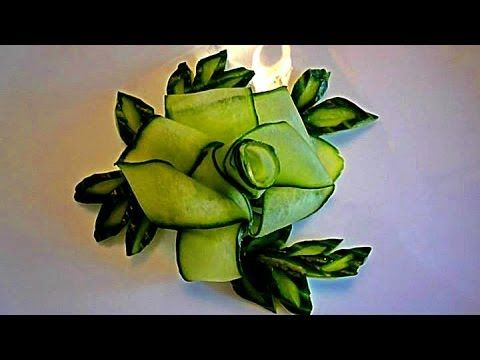 Цветок и лепестки из огурца. Украшения из овощей. Decoration Of Vegetables. Decoration Of Cucumber - YouTube