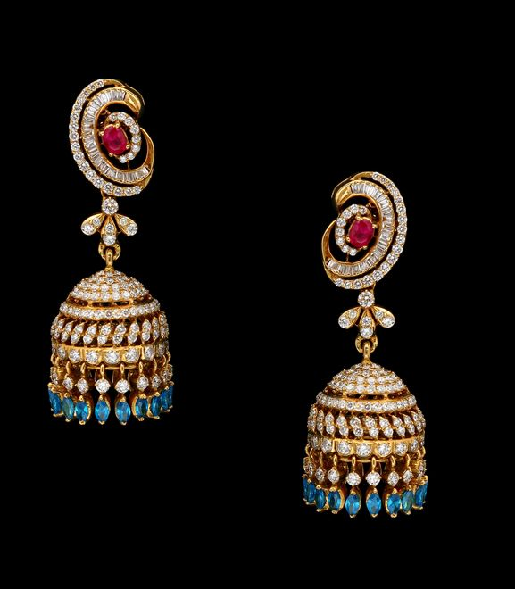 South Jewellery,diamond jhumkas