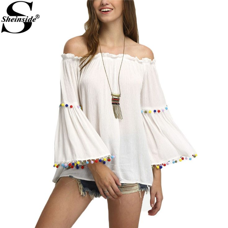 Fringe Sexy Summer Style New Tops Women Shirts Womens Spaghetti Strap Open Shoulder Lace Sleeve Tassel Blouse Tag a friend who would love this! www.avofashion.co... #shop #beauty #Woman's fashion #Products