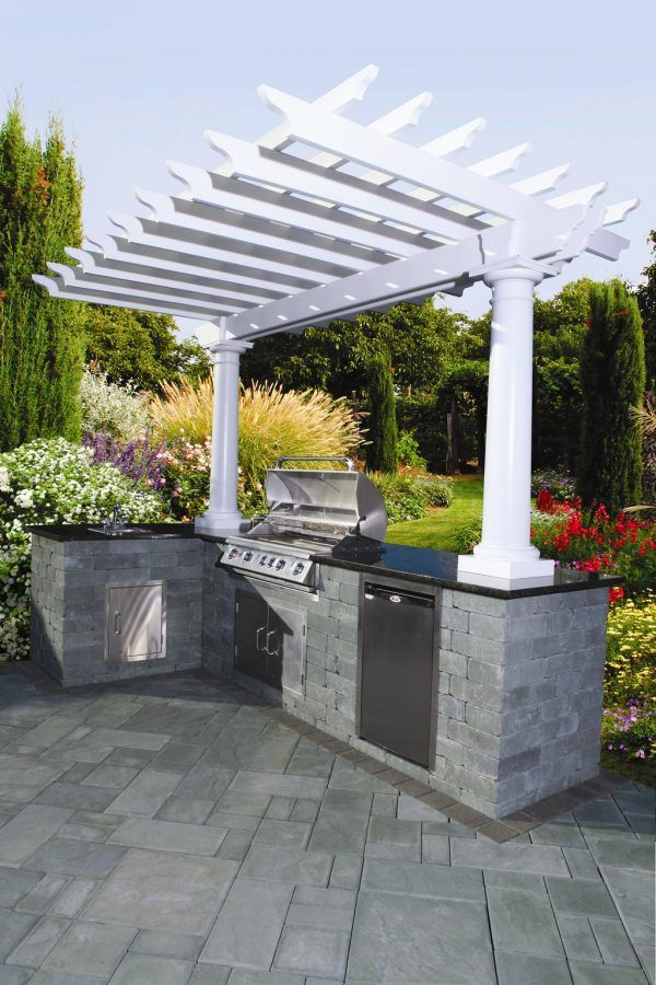 Image of Astounding Prefab Outdoor Kitchen Islands California with Black Granite Kitchen Countertop and White Painted Wood Kitchen Pergola