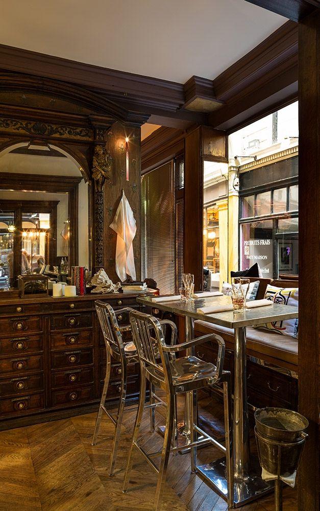 Polished Navy Barstools at CAFFE STERN PARIS