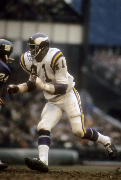 Carl Eller of the Minnesota Vikings pursues the play against the New York Giants October 31 1971 at Yankee Stadium
