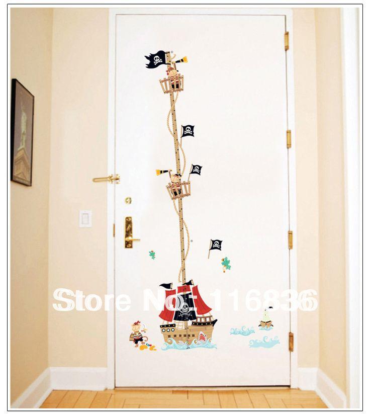 Decorativa pirata Galleon altura medida adesivos de parede decalque para quarto de crianças decoração 50 * 70 cm SI5757(China (Mainland))