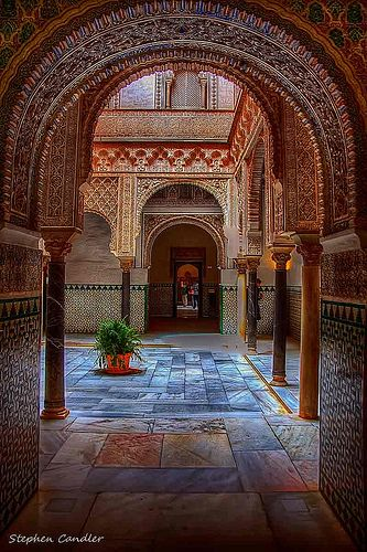 Through the arches in the Alcazar, Seville, Spain.