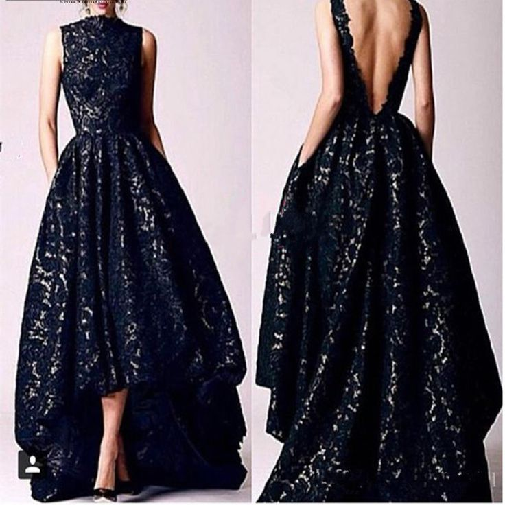 Find More Prom Dresses Information about 2016 Arabic Hi Low Black Prom dresses Vintage 2016 Occasion High Neck Backless Formal Women Party Gowns Lace Evening Dresses,High Quality gown evening dress,China dress wedding gown Suppliers, Cheap dress matching for men from Lover dress on Aliexpress.com