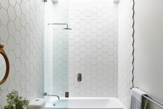 A skylight over the bath and shower allows in ample natural light.