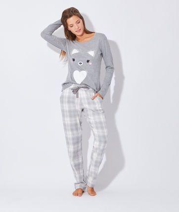 Pyjama 2 pièces, haut imprimé renard - Pyjamas 2 pièces - Les ensembles pyjamas - La collection - Lingerie de nuit