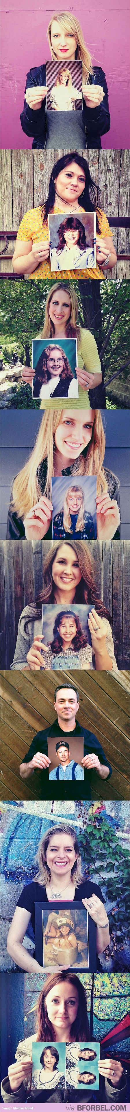 People holding awkward, teen pictures of themselves. Lesson learnt: don't get bangs
