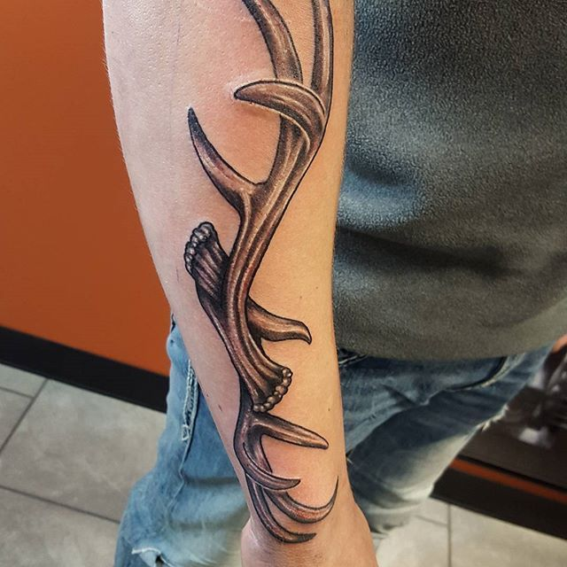 antler forearm tattoo | Tattoos by Nick Droomer ...