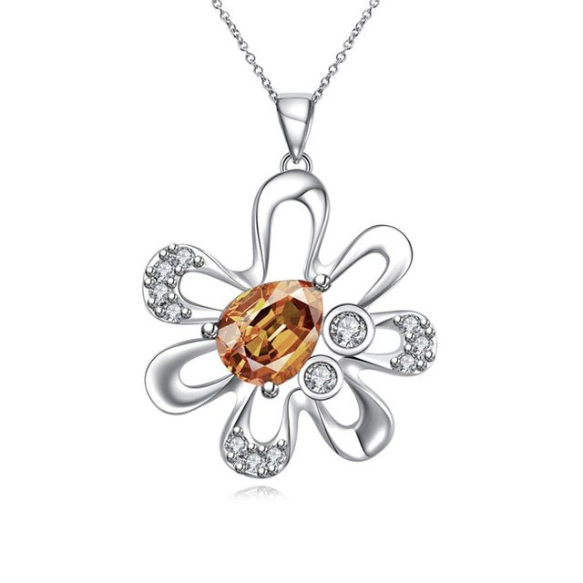 2016 silver flower pendant necklace with zircon jewelry beautiful gift for a woman for top quality hot