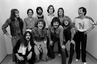 Santanamigos. January 13, 1980, Pete Sears, Craig Chaquico, Joan Baez, David Freiberg, Mickey Hart, Bob Weir, Mickey Thomas, Aynsley Dunbar, Paul Kantner, and Carlos Santana. © Roger Ressmeyer.