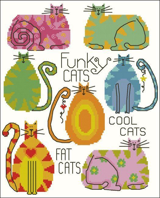 Funky Fat Cats Cross Stitch Pattern