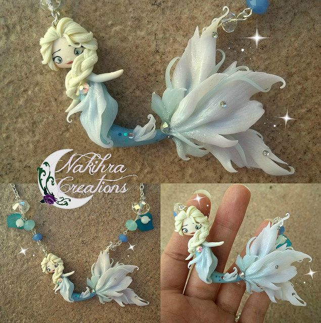 Elsa mermaid polymer clay by Nakihra Fimo Creations, via Flickr