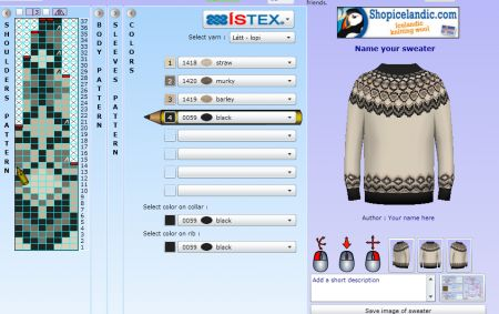 "This awesome web site is for designing your very own Icelandic style sweaters. (I learned how to knit in college in order to make these beauties!) The web site address is actually http://knittingpatterns.is/ I could not ""pin"" anything on the actual web site which is why this link here will take you to Cotton & Cloud, which is an awesome web site for knitting in and of its own right."
