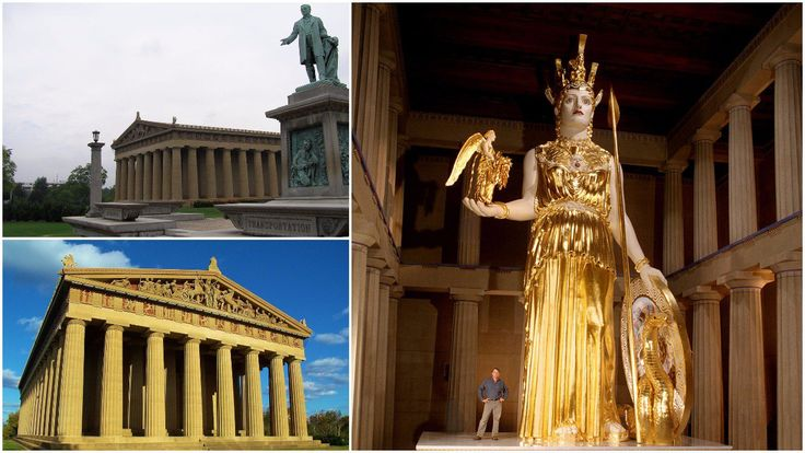 "The Parthenon in Nashville, Tennessee is a full-scale replica of the original Parthenon in Athens. Nashville's moniker, the ""Athens of the South,"" influenc"