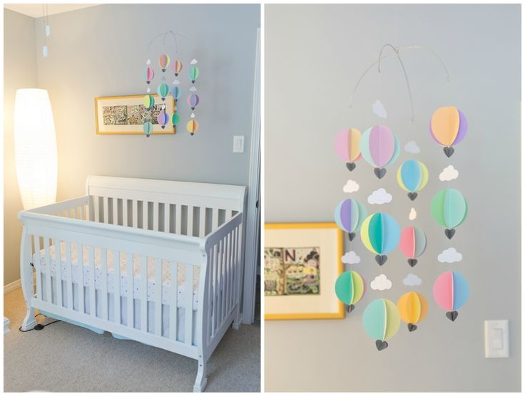younghearts  |  my pastel hot air balloon mobile in Afton's nursery #loveyounghearts