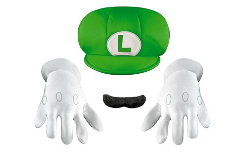 Super Mario Child Size Luigi Hat Moustache & Gloves Kit - Get ready to win a Kart race or take out some ghosts as Luigi with this great officially licensed Luigi accessory kit. This 3 pc. kit includes a Luigi hat, gloves and a self-adhesive mustache. Perfect for a Mario or video game themed party or for Halloween. #yyc #calgary #costume #SuperMario #Nintendo #Luigi