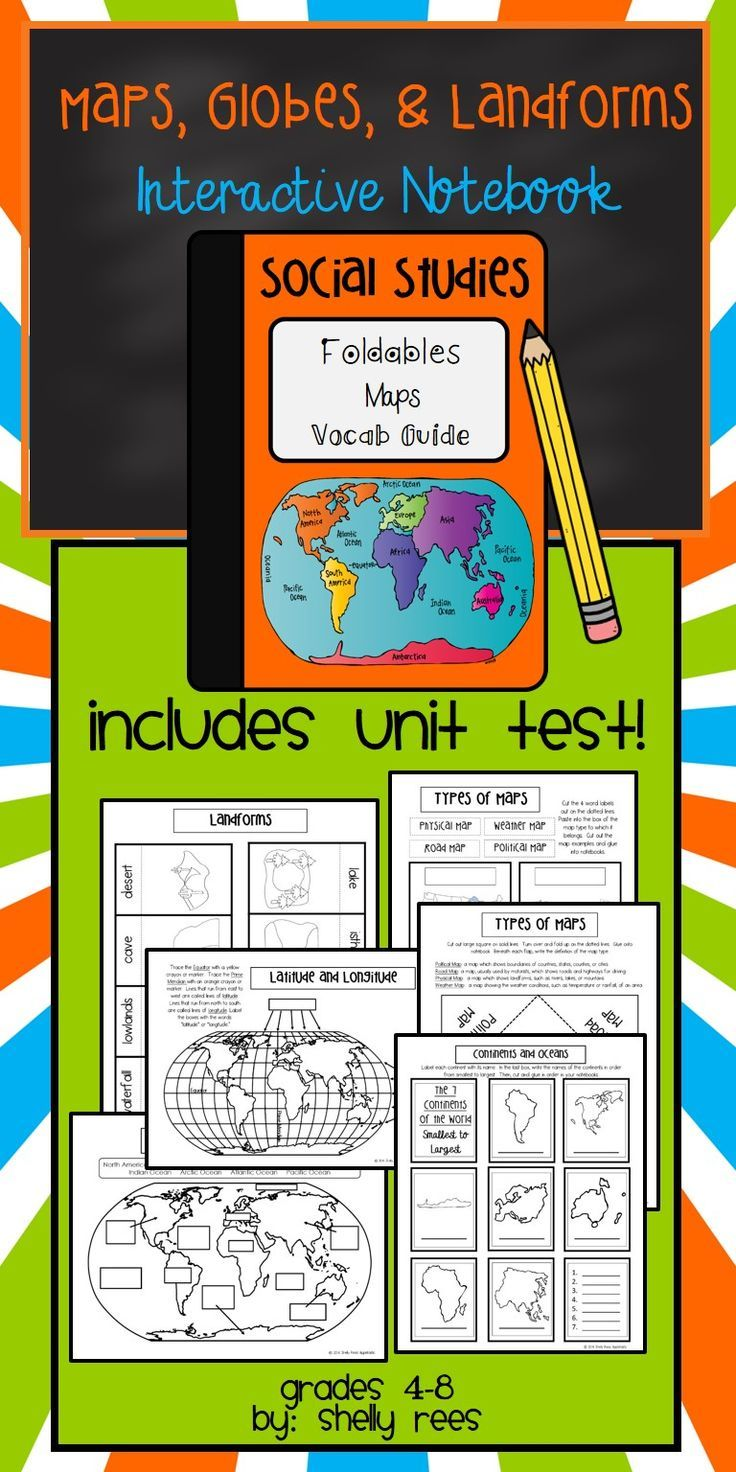 maps continents landforms map skills interactive social studies notebook - Fun Sheets For Students