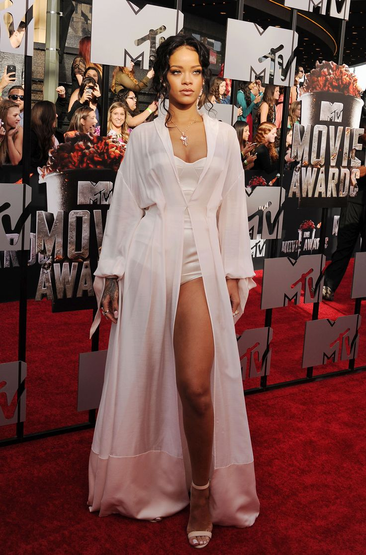 MTV Movie Awards 2014: Rihanna wears a lingerie-inspired look by Ulyana Sergeenko and Manolo Blahnik heels.