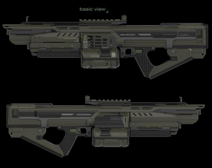 3d concept heavy machine gun, Alexey Kruchina on ArtStation at https://www.artstation.com/artwork/DwnEO