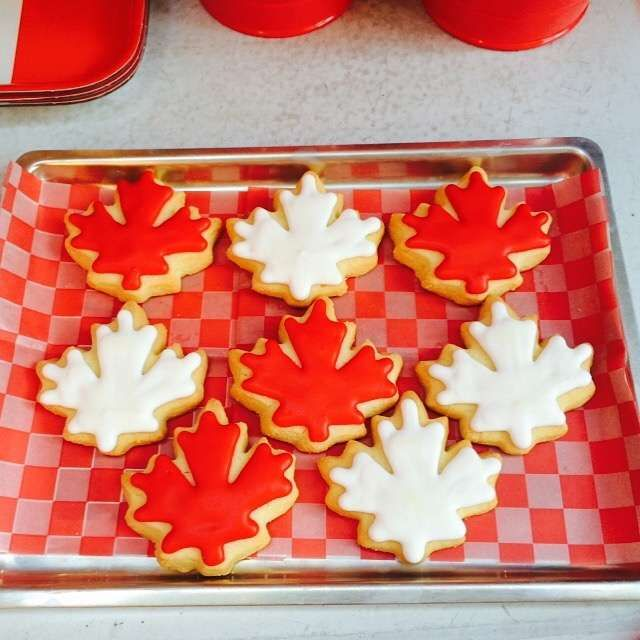 Leaf cookies at a vintage Canada Day party! See more party planning ideas at CatchMyParty.com!