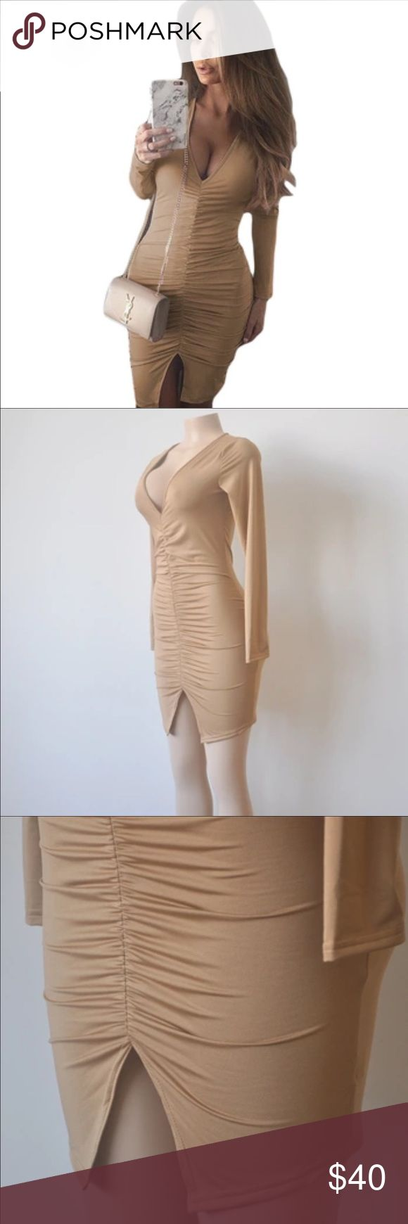 Gorgeous Camel dress Thick material , hugs curves beautifully... perfect for a night out or event Dresses Midi