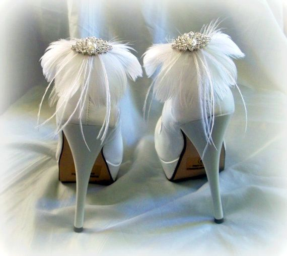 WEEKEND SALE. Bridal Feather Crystal Shoe Clip. by PASSIONandLOVE, $19.99