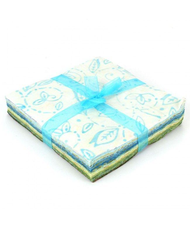 LOUDelephant Cotton Batik Charm Pack Pre Cut Fabric Bundle - Whites to Greens
