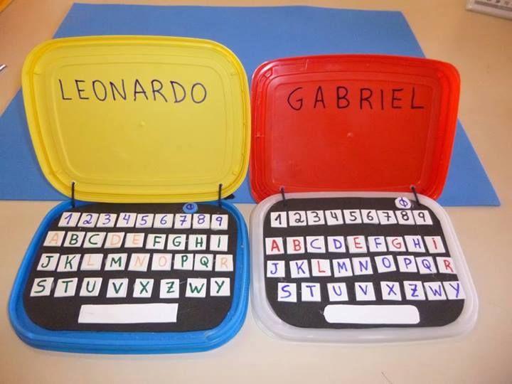 Atividade para trabalhar nomes - Notebook reciclado - Pra Gente Miúda