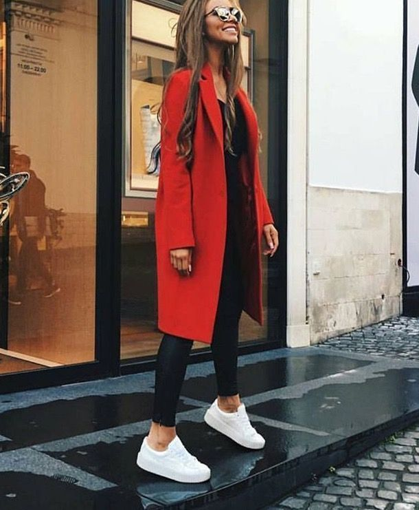 Red coat, black leather leggings, white sneakers. Street style, street fashion, …