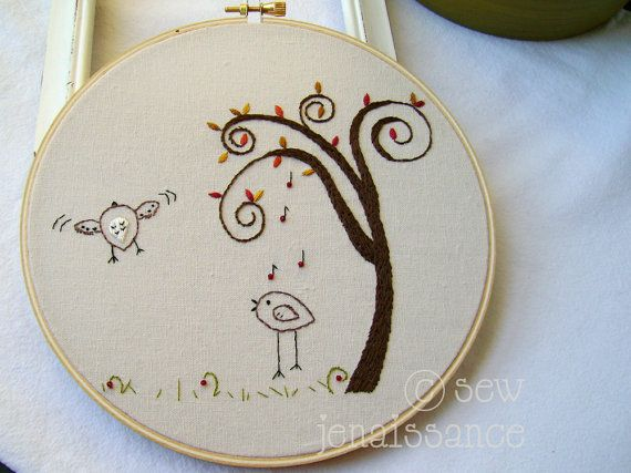 Embroidery PDF Pattern Two Birds Spiral Tree by sewjenaissance