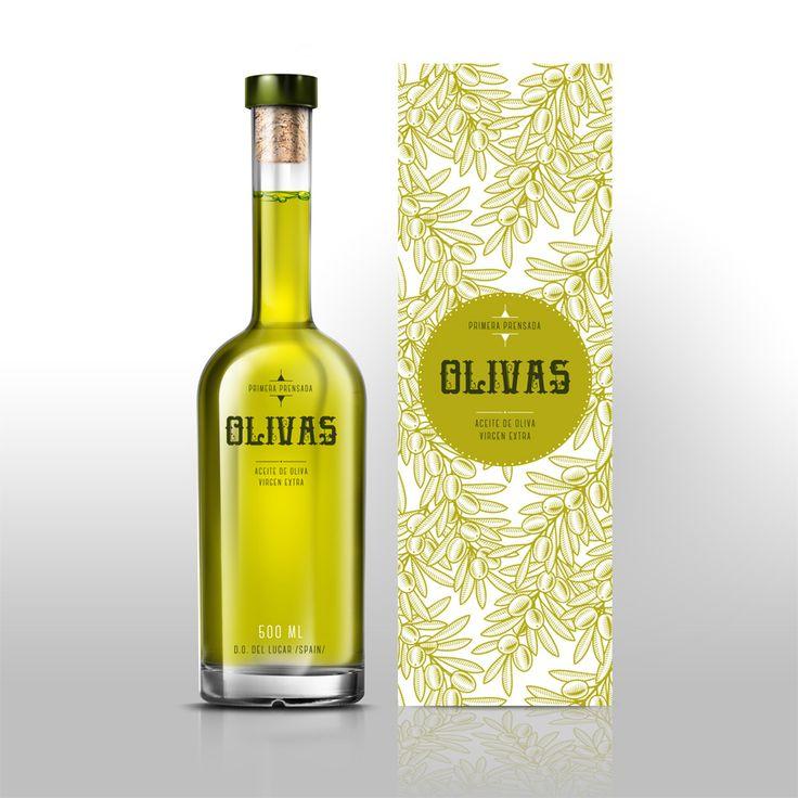 Diseño de botella de aceite de oliva