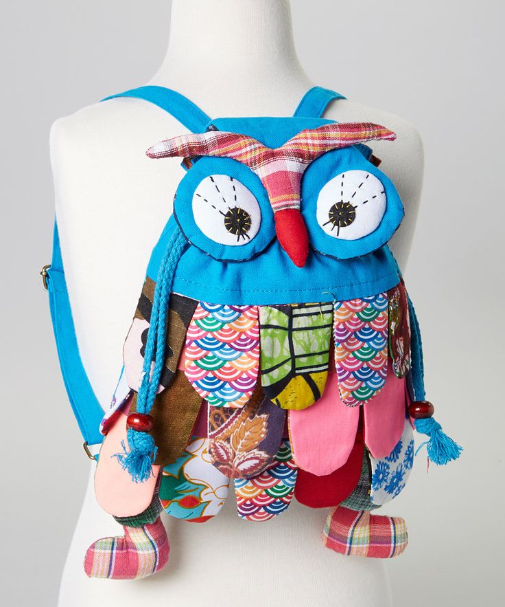 Look at this Lily Kids Blue Patchwork Small Owl Backpack on #zulily today!