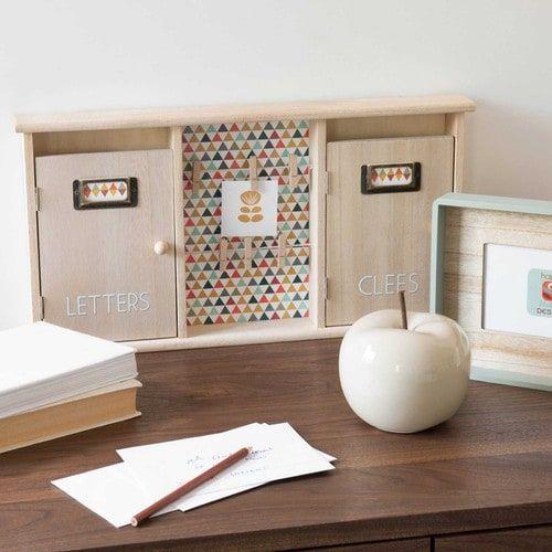 Boîte à clés + courrier en bois H 25 cm SEVENTIES