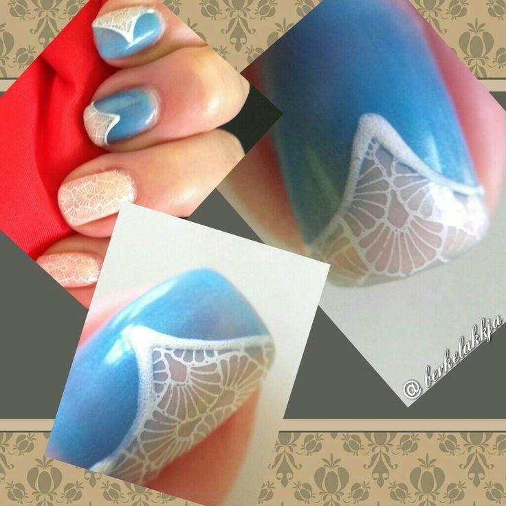 Nail art. Lace nail art. Blue nails.