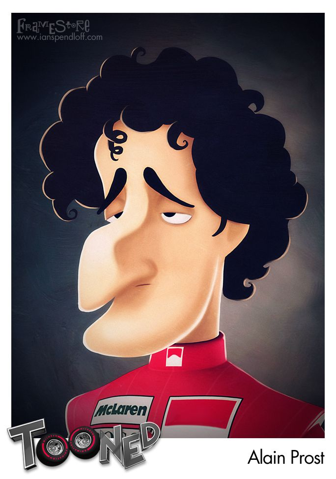 McLaren Tooned Cartoon - Alain Prost