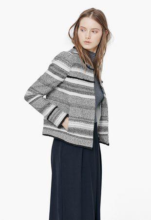 Moun Fekete&Törtfehér Texturált Kabát