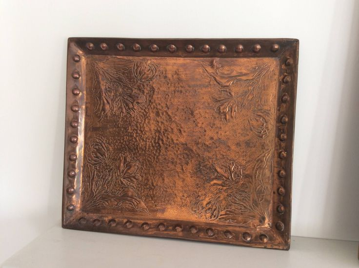 """c1905 18.5"""" x 16.25"""" Antique Arts & Crafts Era Repousse Copper Tray or Plaque by LuxfordVintage on Etsy"""
