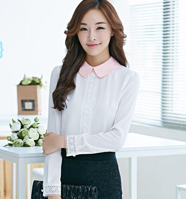 Estilo coreano 2015 novo verão blusas verão festa estilo blusas Casual completo chiffon bitton turn down collar mulheres camisas de 2 cores