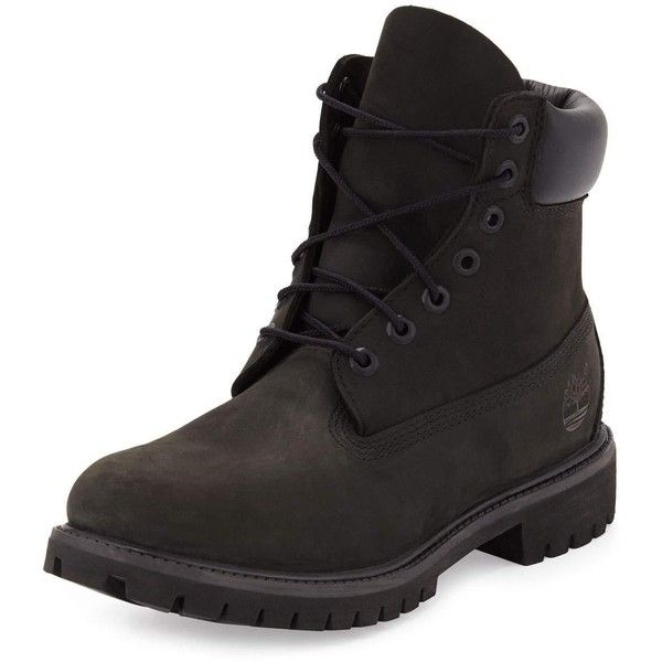 Timberland 6 Premium Waterproof Hiking Boot ($190) ❤ liked on Polyvore featuring men's fashion, men's shoes, men's boots, shoes, black, mens round toe cowboy boots, mens lace up boots, mens black hiking boots, timberland mens boots and mens black lace up boots